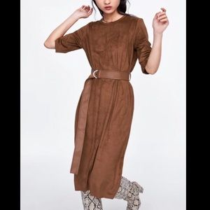 Zara faux suede dress with leather belt
